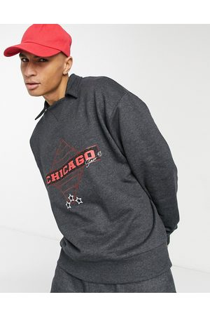 ASOS Co-ord oversized joggers with vintage Chicago print-Grey