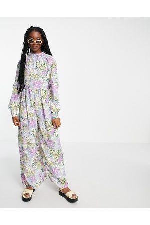 ASOS Damen Jumpsuits - Smock jumpsuit in bright summer floral print-Multi