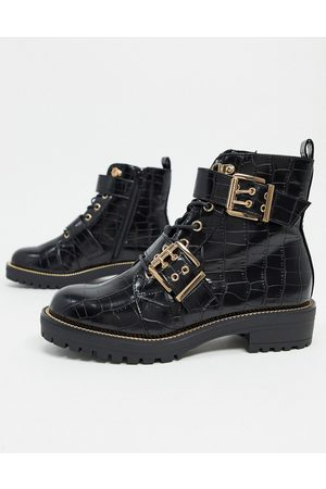 ASOS Aubrey hiker lace up boots in croc