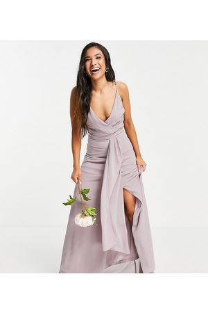 TFNC Bridesmaid cami wrap maxi dress with fishtail in pink