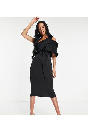 ASOS Damen Asymmetrische Kleider - ASOS DESIGN Tall peekaboo shoulder tuck midi pencil dress in black