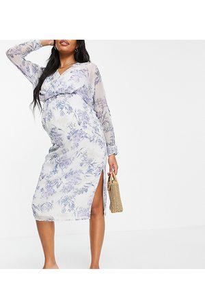 ASOS ASOS DESIGN Maternity slouchy midi dress with blouson sleeve-Green