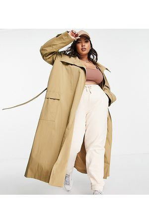 ASOS ASOS DESIGN Curve collared luxe trench coat in stone-Brown