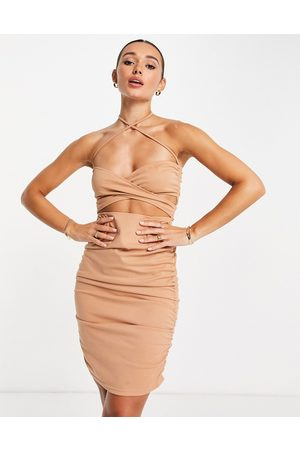 Unique 21 Slinky ruched cross front mini dress in camel-Neutral