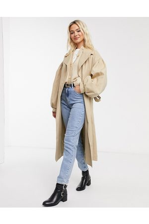ASOS Extreme sleeve trench coat in stone