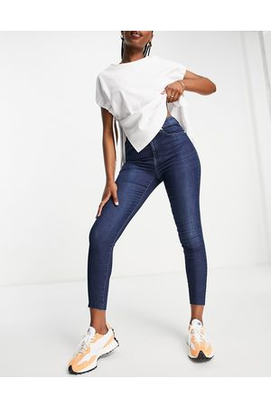 ONLY Black iris life high rise skinny ankle grazer jeans in midwash blue