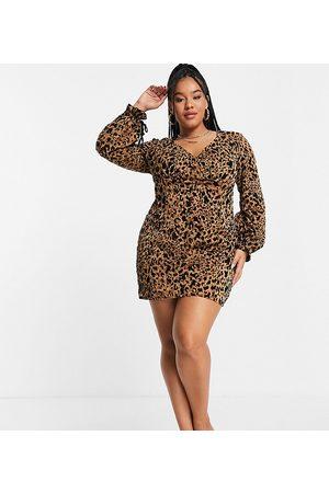 Koco & K Plunge front tie volume sleeve mini dress in leopard print-Multi