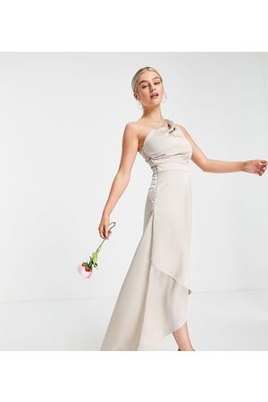TFNC Tall Bridesmaid one shoulder maxi dress in mink-Pink