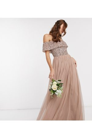 Maya Damen Lange Kleider - Bridesmaid bardot maxi tulle dress with tonal delicate sequins in taupe blush-Brown