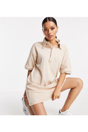 Threadbare Damen Poloshirts - Short sleeve polo shirt mini dress in bark-Brown