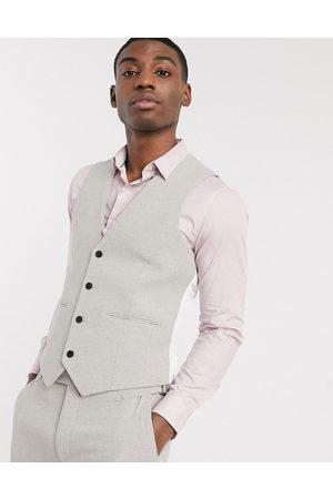 ASOS Wedding skinny suit waistcoat in putty wool blend twill
