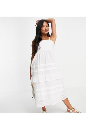 VIOLET ROMANCE Cami strap midi dress with broderie inserts in white