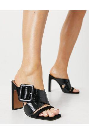 ASOS DESIGN Tile chunky padded mid heeled sandals in black