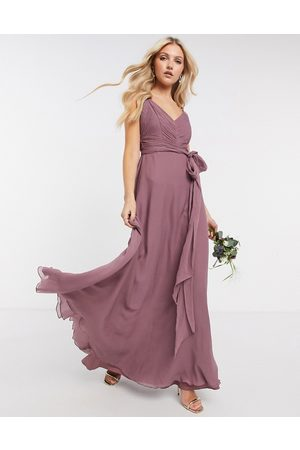 ASOS ASOS DESIGN Petite Bridesmaid cami maxi dress with ruched bodice and tie waist-Green