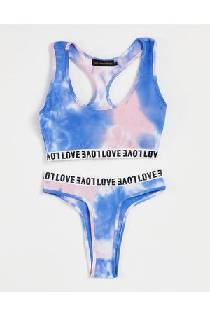Love & Other Things Crop bra and thong set in blue tie dye