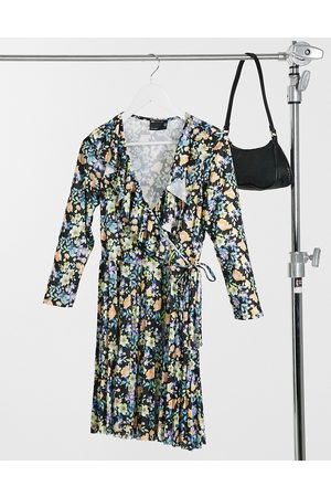 ASOS Long sleeve pleated mini wrap dress in floral print