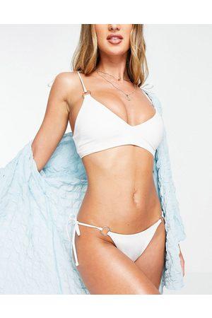 ASOS 00s sleek ring crop bikini top in white