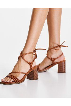 ASOS Nobel caged block heeled sandals in dark tan patent-Brown