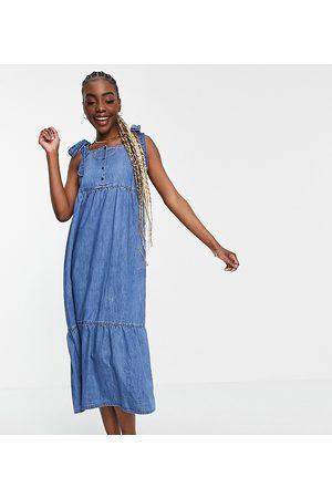 ASOS ASOS DESIGN Maternity soft denim tiered midi dress in midwash-Blue