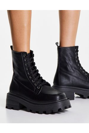 Topshop Kayla chunky lace up boot in black