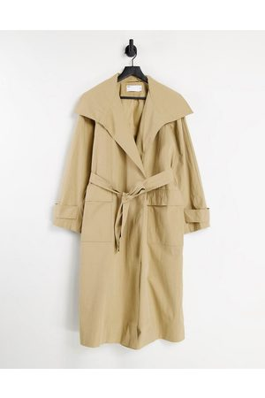 ASOS Collared luxe trench coat in stone-Brown