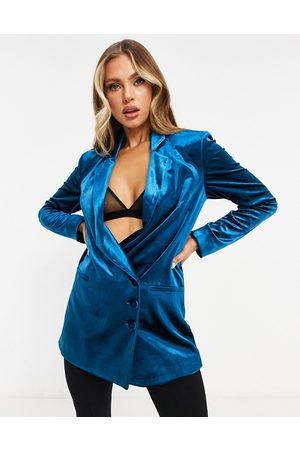 AQ AQ Tailored velvet jacket in petrol blue co-ord