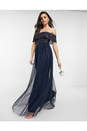 Maya Bridesmaid bardot maxi tulle dress with tonal delicate sequins in
