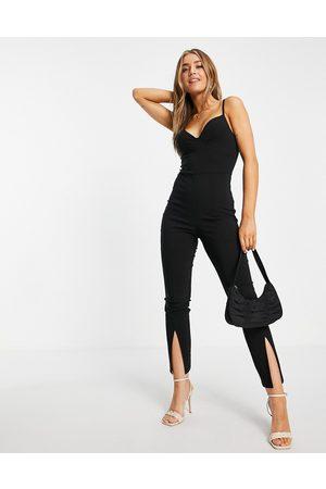Miss Selfridge Bengaline split front jumpsuit in black