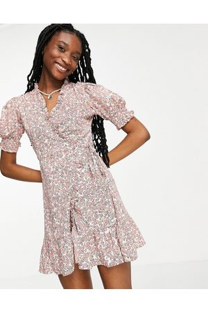 Influence Wrap dress in ditsy floral-Multi