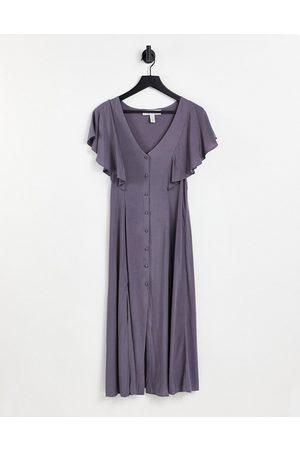 Liquorish Damen Midikleider - Short sleeve midi dress in grey