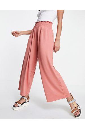 ASOS ASOS DESIGN Petite culotte trouser with shirred waist-Black
