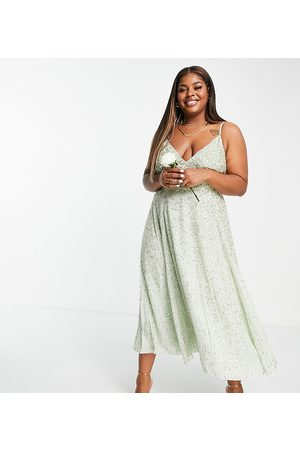 ASOS Curve embellished cami midi dress in sage green