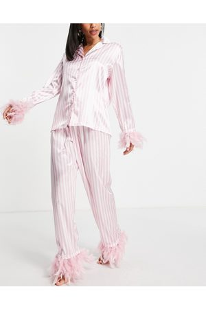 NIGHT Satin pyjamas with detachable faux feather trim in pink stripe