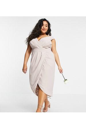 TFNC Bridesmaid wrap midi dress in navy