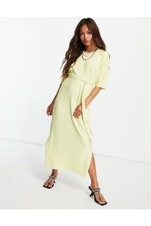 SELECTED Femme plisse t-shirt midi dress with side splits in yellow