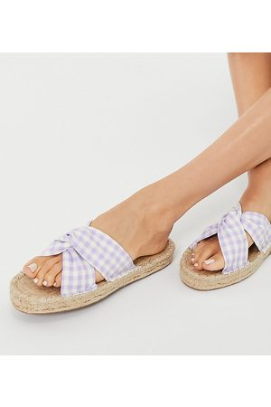 ASOS Wide Fit Laugh pointed ballet flats in lilac-Purple