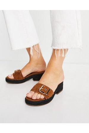 ASOS Mindy flat loafers in tan croc-Brown