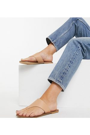 ASOS Foliage leather chain toe post sandals in -Neutral