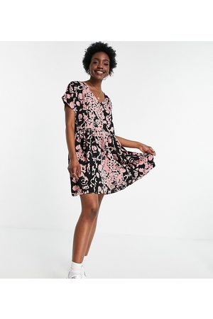 Urban Threads Oversized button down smock dress in abstract print-Blue