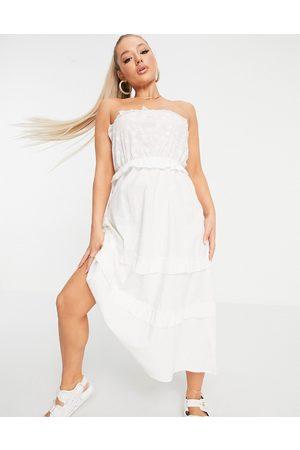 Parisian Tiered midi dress in white