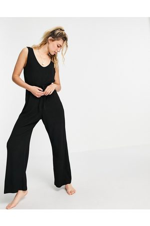ASOS ASOS DESIGN Maternity mix & match lounge super soft rib jumpsuit with waist tie in black