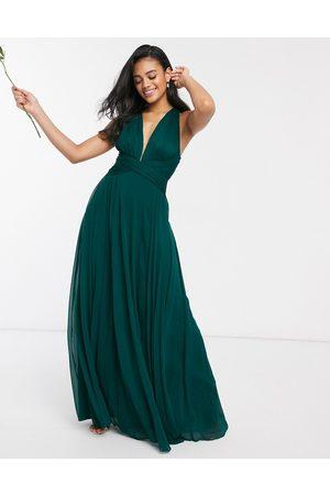 ASOS Bridesmaid ruched bodice drape maxi dress with wrap waist