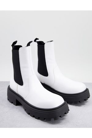 ASOS Super chunky square toe chelsea boot in white faux leather with contrast sole