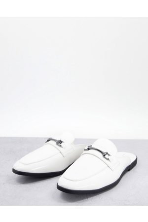 ASOS Backless mule loafer in white faux leather