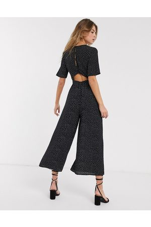 ASOS Tea jumpsuit with button back detail in forest green-Multi