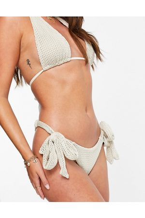 ASOS Mix and match crochet tie front bandeau bikini top in ivory-White