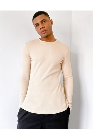 ASOS Muscle fit long sleeve waffle t-shirt in