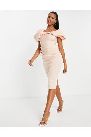 ASOS Bubble sleeve fallen shoulder pencil midi dress in pink-Neutral