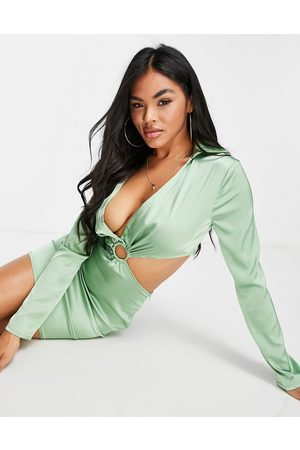 NaaNaa Plunge satin cut out dress in sage green