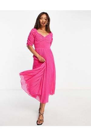 ASOS Ruched front pleated midi dress with shirred waist in chevron dobby in hot pink